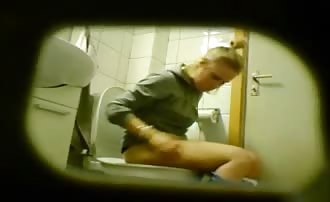 Blonde college girl pooping