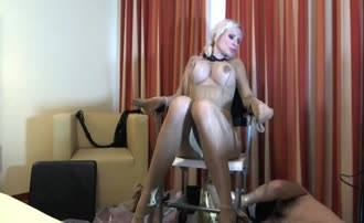 Smearing shit on a tied female slave