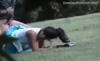 Voyeur spying of a couple fucking in the park