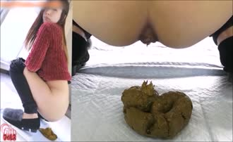 Asian girl shitting on bathroom floor