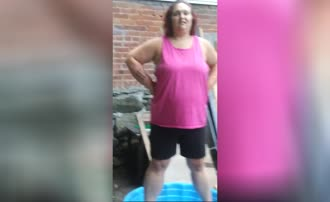 BBW babe pooping in blue bucket