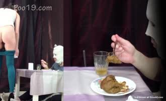 Petite mistress feeds slave